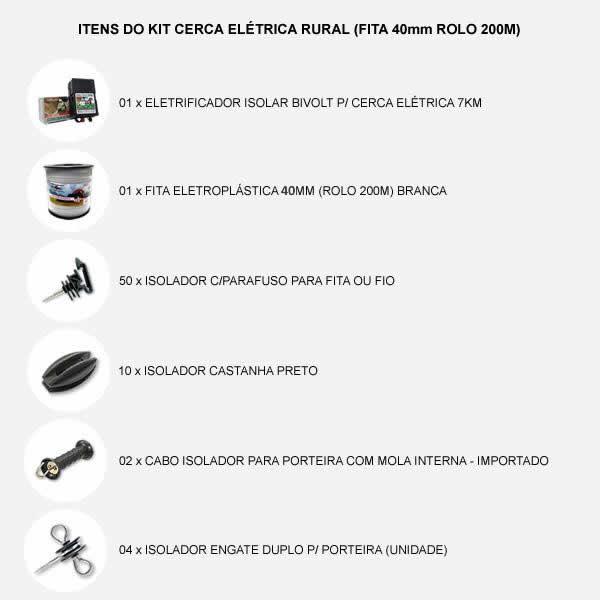 Kit Cerca Elétrica Rural (fita 40mm Rolo 200m)