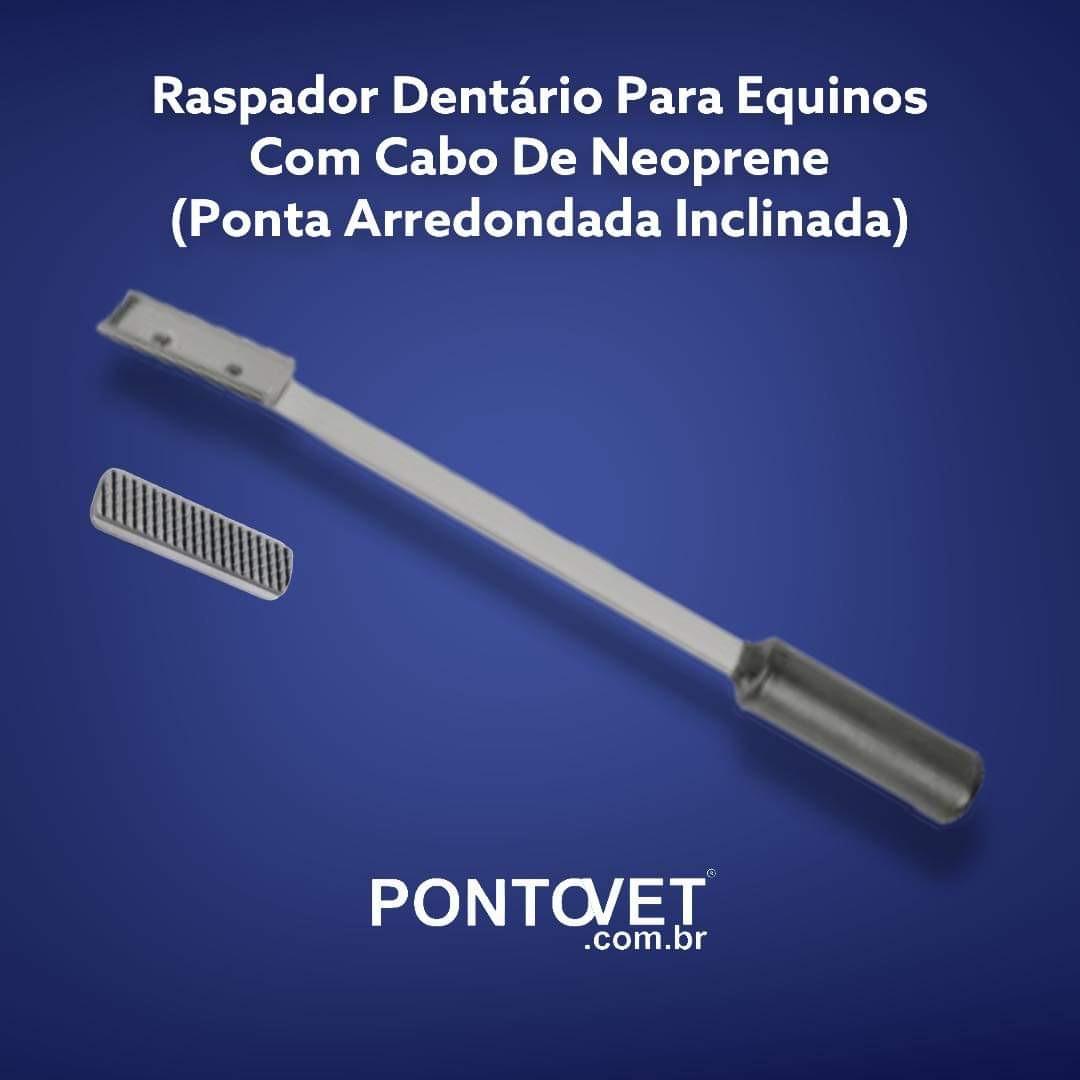 Raspador Dentário Para Equinos Com Cabo De Neoprene (Ponta Arredondada Inclinada)