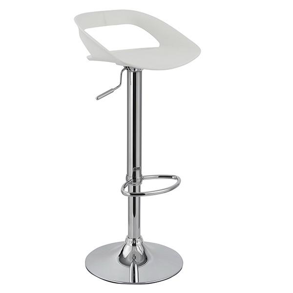 Banqueta Enseada Assento em polipropileno e base cromada Branca - Moln Design Furniture