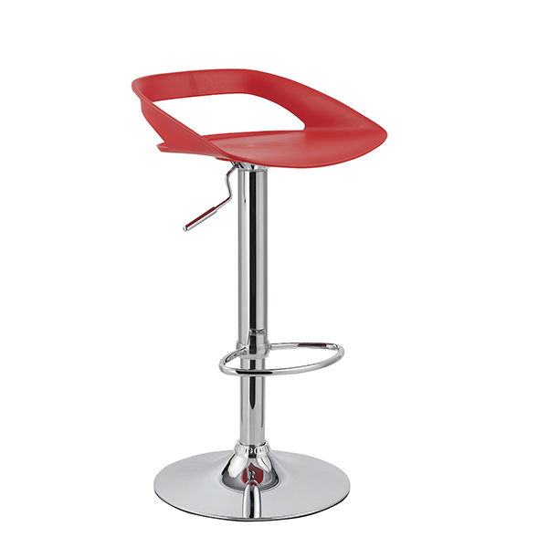 Banqueta Enseada Assento em polipropileno e base cromada Vermelha - Moln Design Furniture
