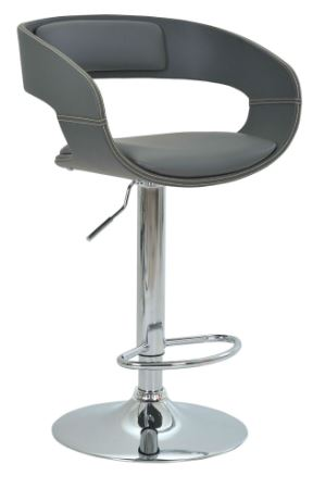 Banqueta Londrina PU Cinza Base Disco - Moln Design Furniture