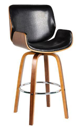 Banqueta Santos Base Madeira PU Preto - Moln Design Furniture