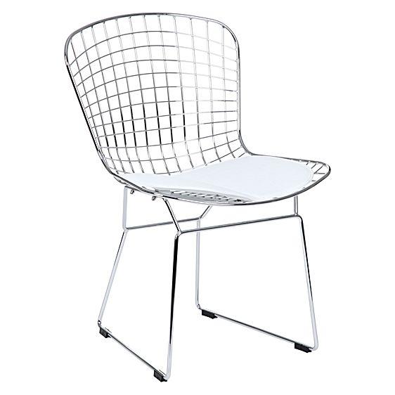 Cadeira Bertoia CAC51 Cromada Assento Branco - Moln Design Furniture