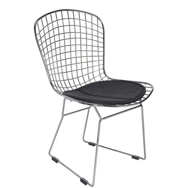 Cadeira Bertoia CAC51 Cromada Assento Preto - Moln Design Furniture