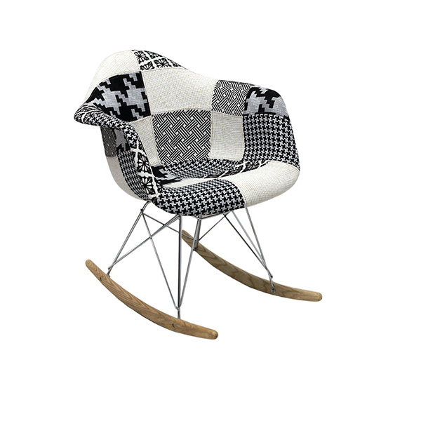 Cadeira Eiffel Charles Eames Balanço Com Braço PatchWork Preto e Branco - Moln Design Furniture