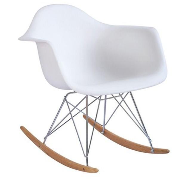 Cadeira Eiffel Charles Eames Com Braço em PP Branca Base Balanco - Moln Design Furniture
