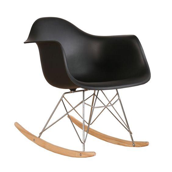 Cadeira Eiffel Charles Eames Com Braço em PP Preta Base Balanco - Moln Design Furniture