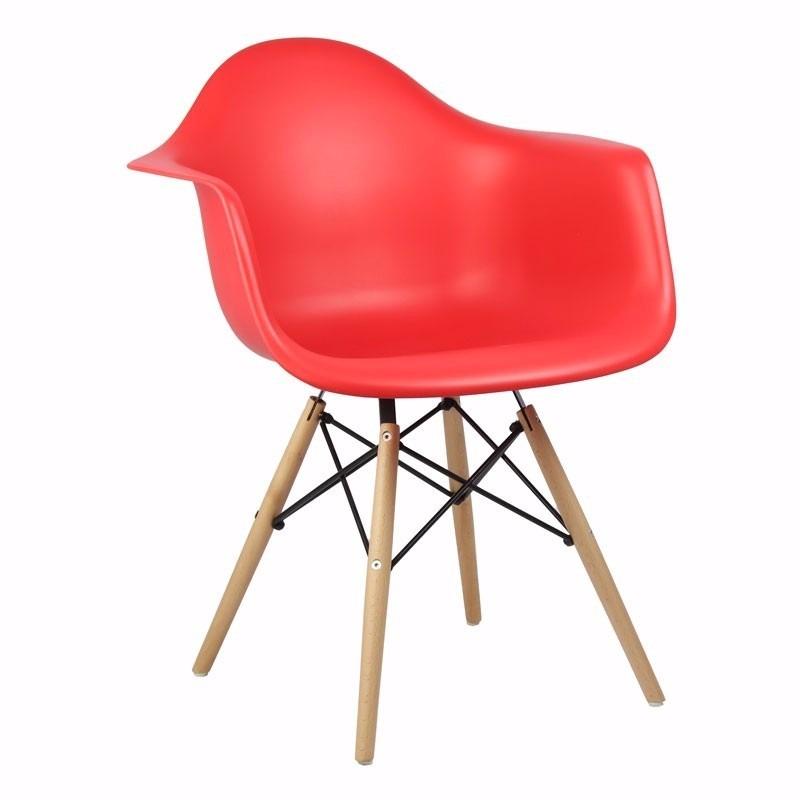 Cadeira Eiffel Charles Eames Com Braço em PP Vermelha Base em Madeira - Moln Design Furniture