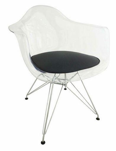 Cadeira Eiffel Com Bracos e Almofada Preta - Moln Design Furniture