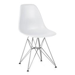 Cadeira Eiffel Infantil Assento Branco Base Cromada - Moln Design Furniture