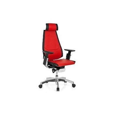 Cadeira Ergonômica Diretor Presidente Genídia Couro Vermelha com Alarme Postural
