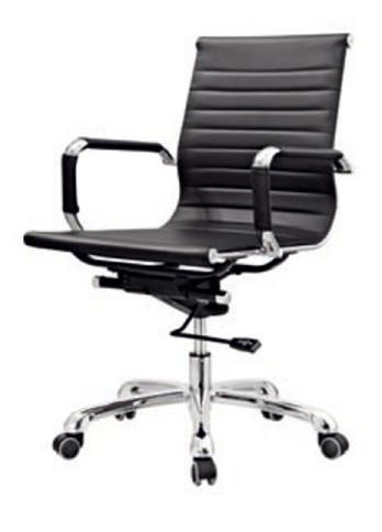 Cadeira Escritório BRUN Charles Eames Office Giratória Diretor Preta Encosto Baixo