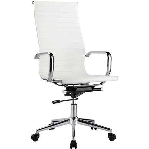 Cadeira Escritório Charles Eames Giratória Presidente Encosto Alto Branca - Moln Design Furniture