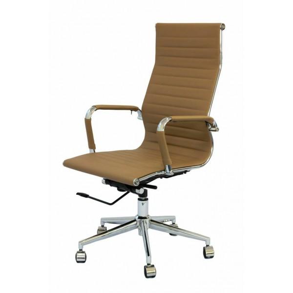 Cadeira Escritório Charles Eames Giratória Presidente Encosto Alto Caramelo - Moln Design Furniture