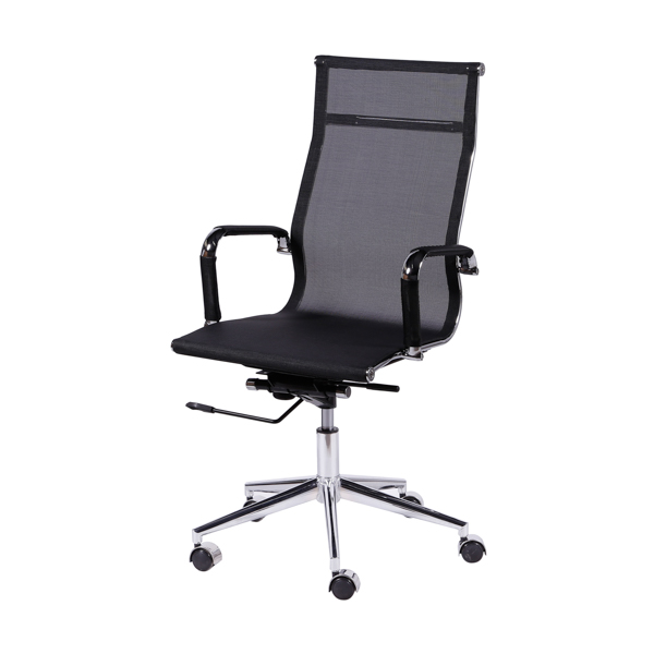 Cadeira Escritório Charles Eames Office Telinha Encosto Alto Preta - Moln Design Furniture