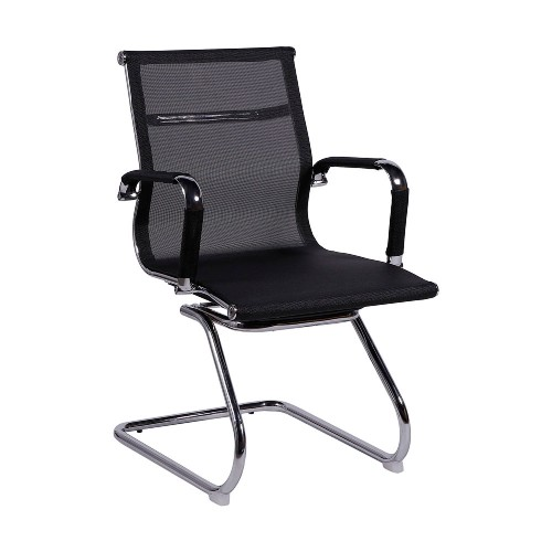 Cadeira Escritório HAAV FIXA Charles Eames Office Telinha Encosto Baixo Preta