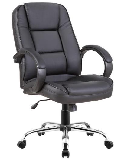 Cadeira Escritório NOLL LOW Giratória Couro Ecológico Preto