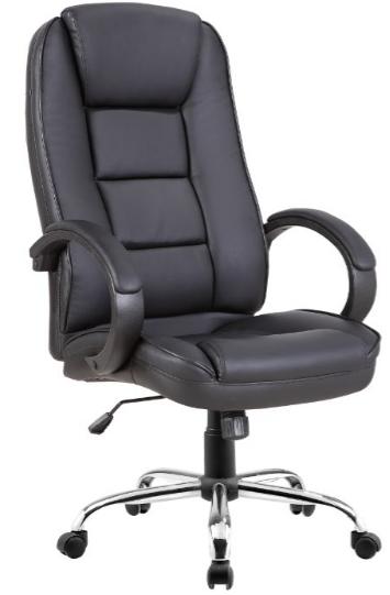 Cadeira Escritório NOLL HI Giratória Presidente Couro Ecológico Preto