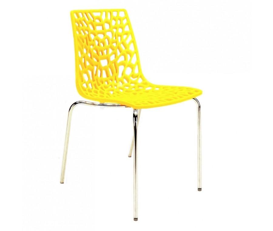 Cadeira Groove Polipropileno e base cromada Amarelo - Moln Design Furniture
