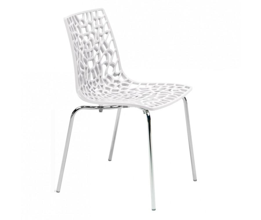 Cadeira Groove Polipropileno e base cromada Branca - Moln Design Furniture