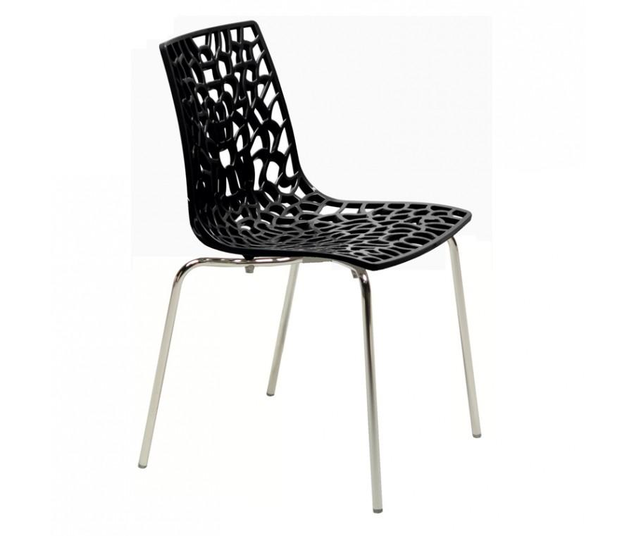Cadeira Groove Polipropileno e base cromada Preta - Moln Design Furniture