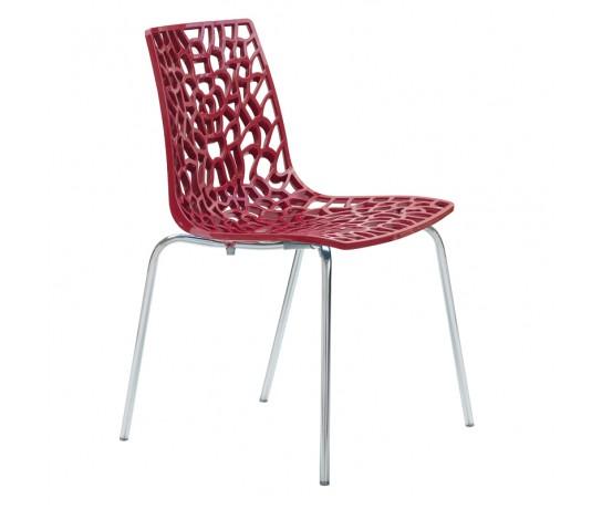 Cadeira Groove Polipropileno e base cromada Vermelha - Moln Design Furniture