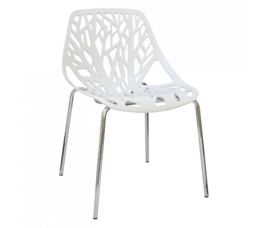 Cadeira Planta Branca Polipropileno e base cromada - Moln Design Furniture
