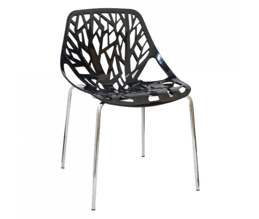 Cadeira Planta Preta Polipropileno e base cromada - Moln Design Furniture