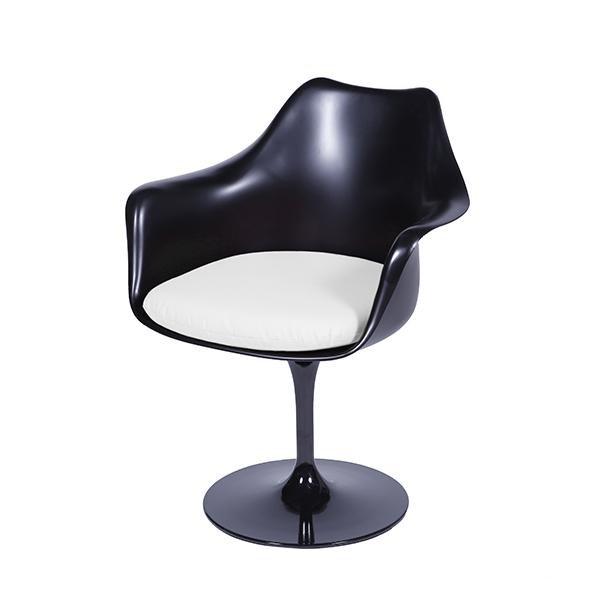 Cadeira Saarinen Com Bracos Preta Assento Branco - Moln Design Furniture