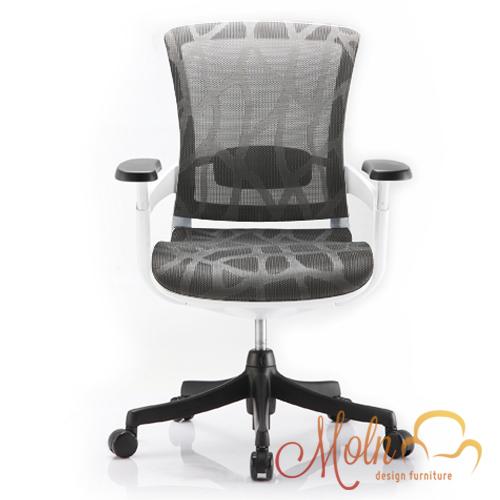 Cadeira Escritório Diretor Giratória Ergonômica em Tela Mesh Prata Modelo Skate - Moln Design Furniture