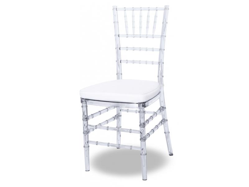 Cadeira Tiffany Transparente com Almofada Branca - Moln Design Furniture