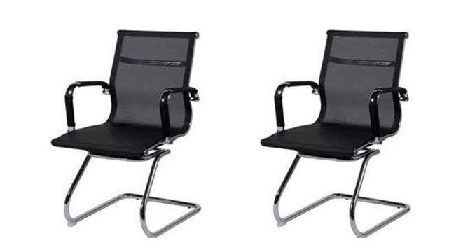 KIT 2 Cadeira Escritório HAAV FIXA Charles Eames Office Telinha Encosto Baixo Preta