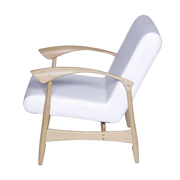 Poltrona Anos 50 Couro Sintético Branco - Moln Design Furniture
