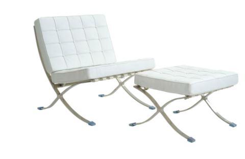 Poltrona Barcelona Aço inox Couro Sintetico Branca - Moln Design Furniture