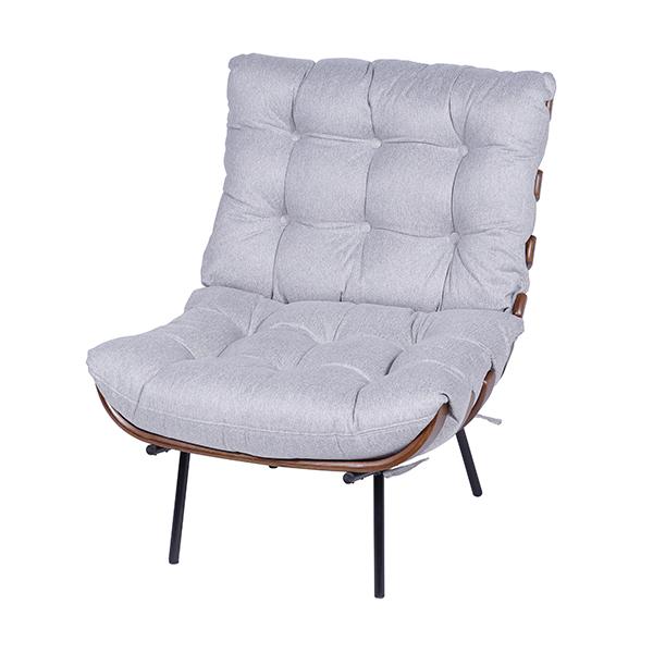 Poltrona Costela Linho Cinza Claro - Moln Design Furniture