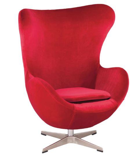 Poltrona Egg Arne Jacobsen Tecido Velutê Cereja - Moln Design Furniture