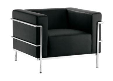Poltrona Le Corbusier Pu Preto - Moln Design Furniture
