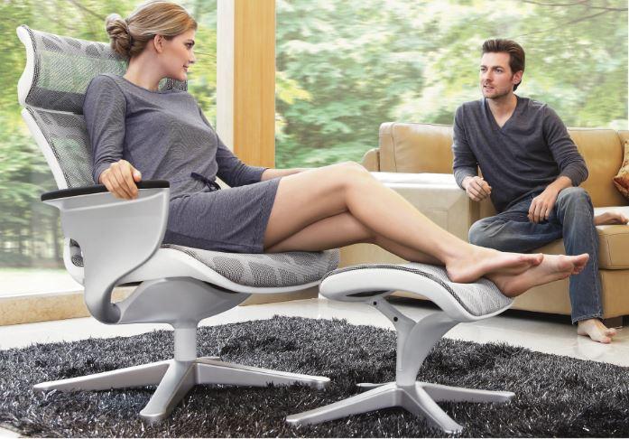 Poltrona Lounge Moln Nuvem em Mesh Cinza e Frame Branco - Moln Design Furniture