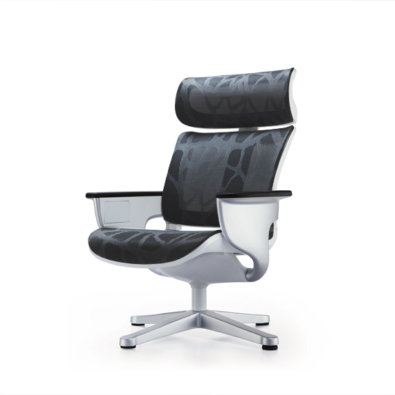 Poltrona Lounge Moln Nuvem em Mesh Preto e Frame Branco - Moln Design Furniture