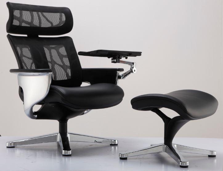 Poltrona Lounge Moln Nuvem Encosto em Tela Mesh Preto e Assento Couro Preto Com Suporte para Notebook e para Iphone - Moln Design Furniture