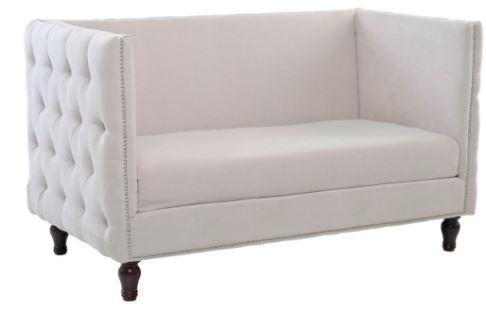 Sofa Homero 2 Lugares Veludo Bege - Moln Design Furniture