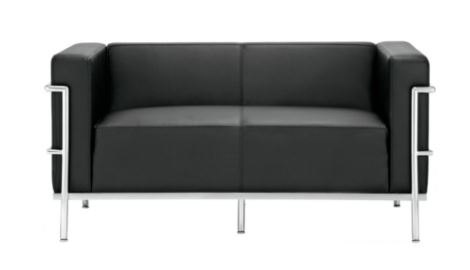 Sofa Le Corbusier 2 Lugares PU Preto - Moln Design Furniture