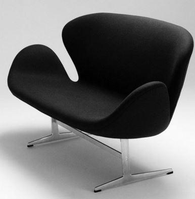 Sofa Swan Arne Jacobsen em Tecido Preto - Moln Design Furniture