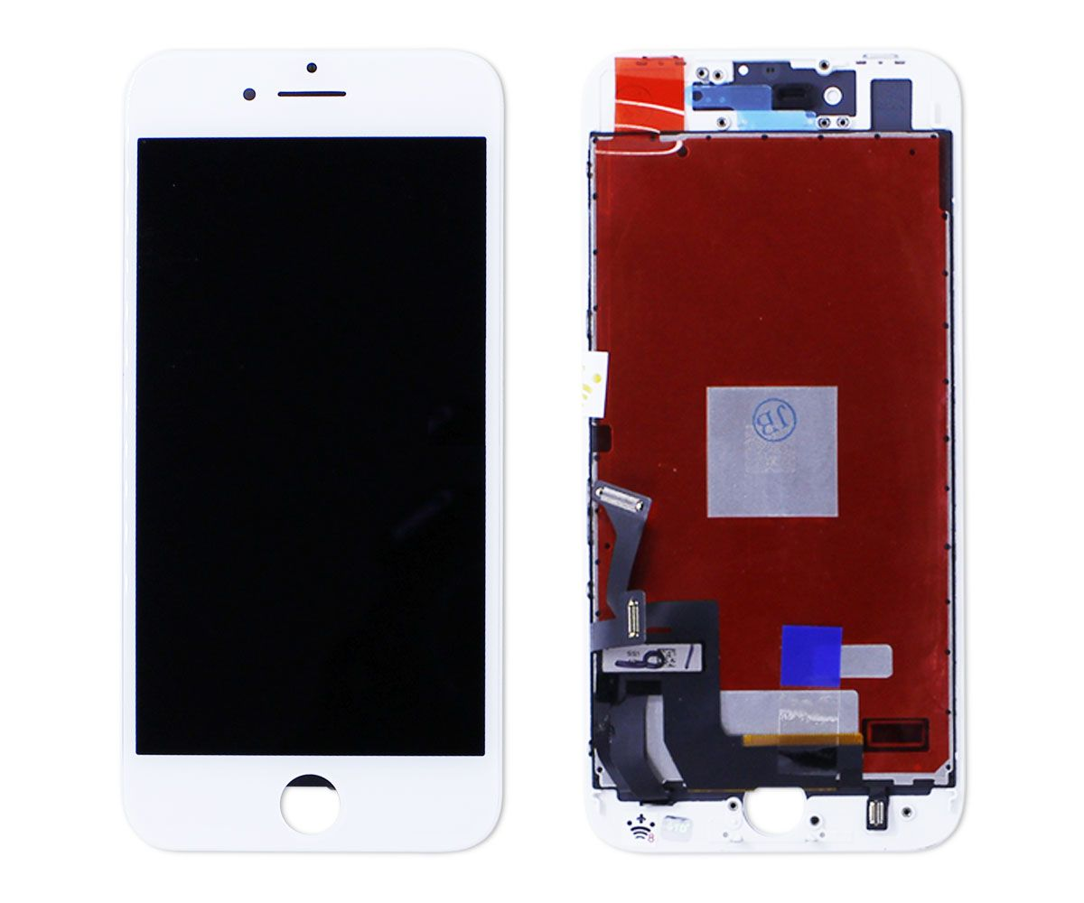 Kit Tela Display iPhone 8 Empório Pro Branco + Bateria + Capa Apple Azul Escura