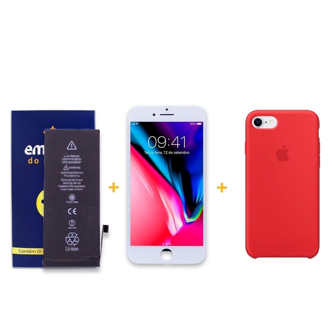 Kit Tela Display iPhone 8 Empório Pro Branco + Bateria + Capa Apple Vermelha