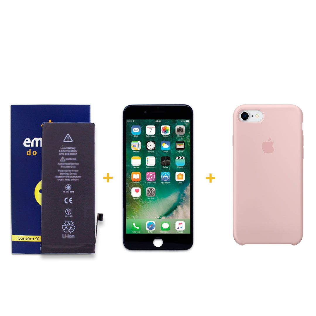 Kit Tela Display iPhone 8 Empório Pro Preto + Bateria + Capa Apple Rosa