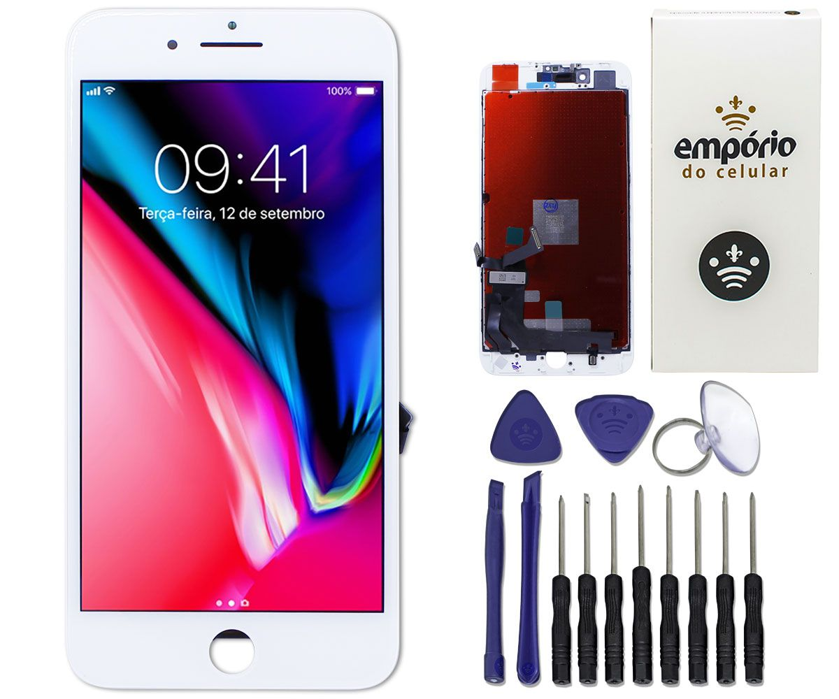 Kit Tela Display iPhone 8 Plus Premium Branco + Bateria + Capa Apple Azul Escura