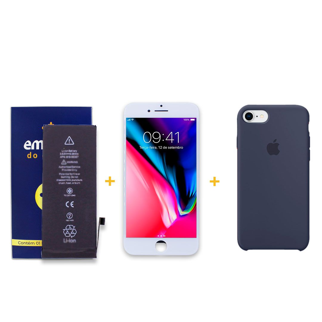 Kit Tela Display iPhone 8 Premium Branco + Bateria + Capa Apple Azul Escura