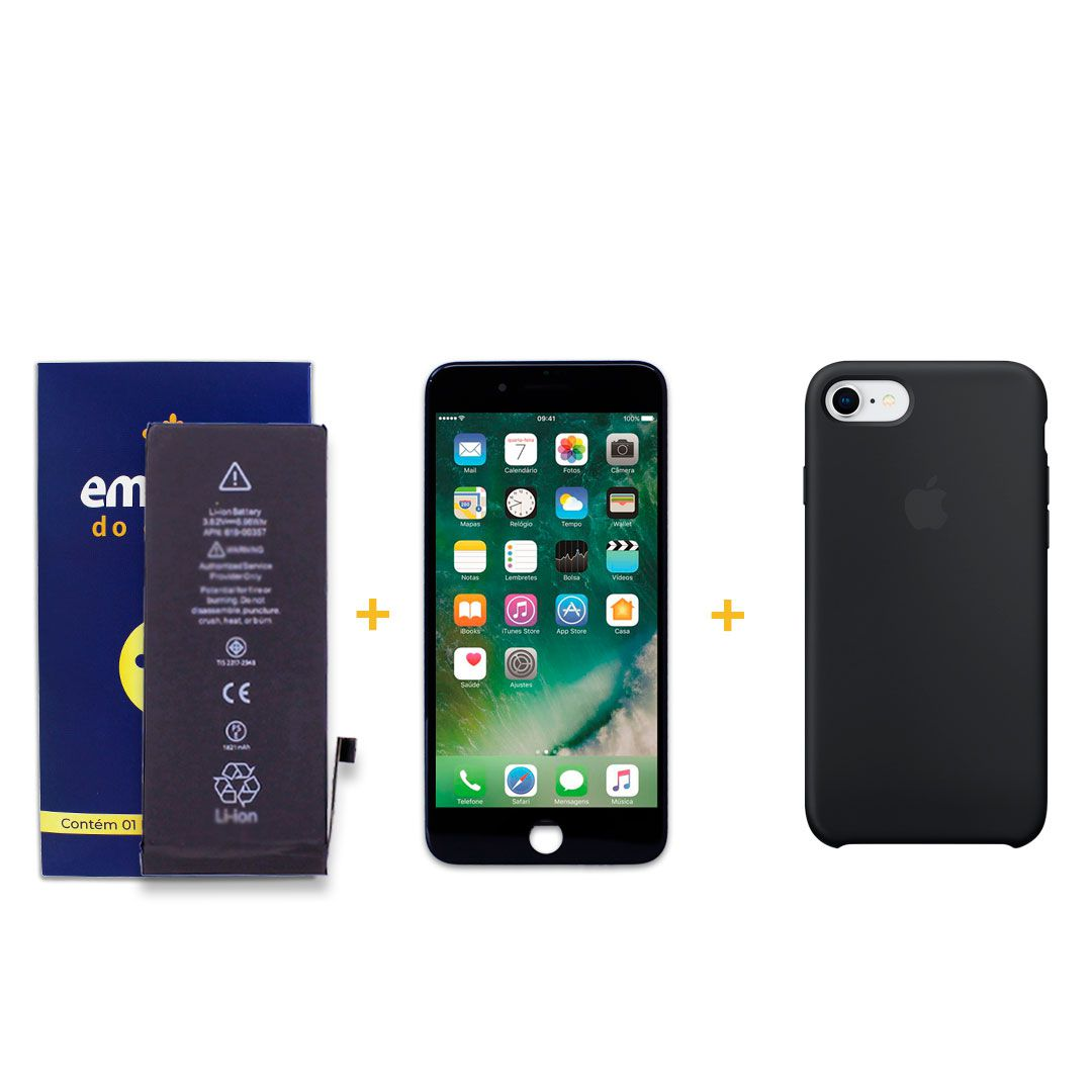 Kit Tela Display iPhone 8 Standard Preto + Bateria + Capa Apple Preta