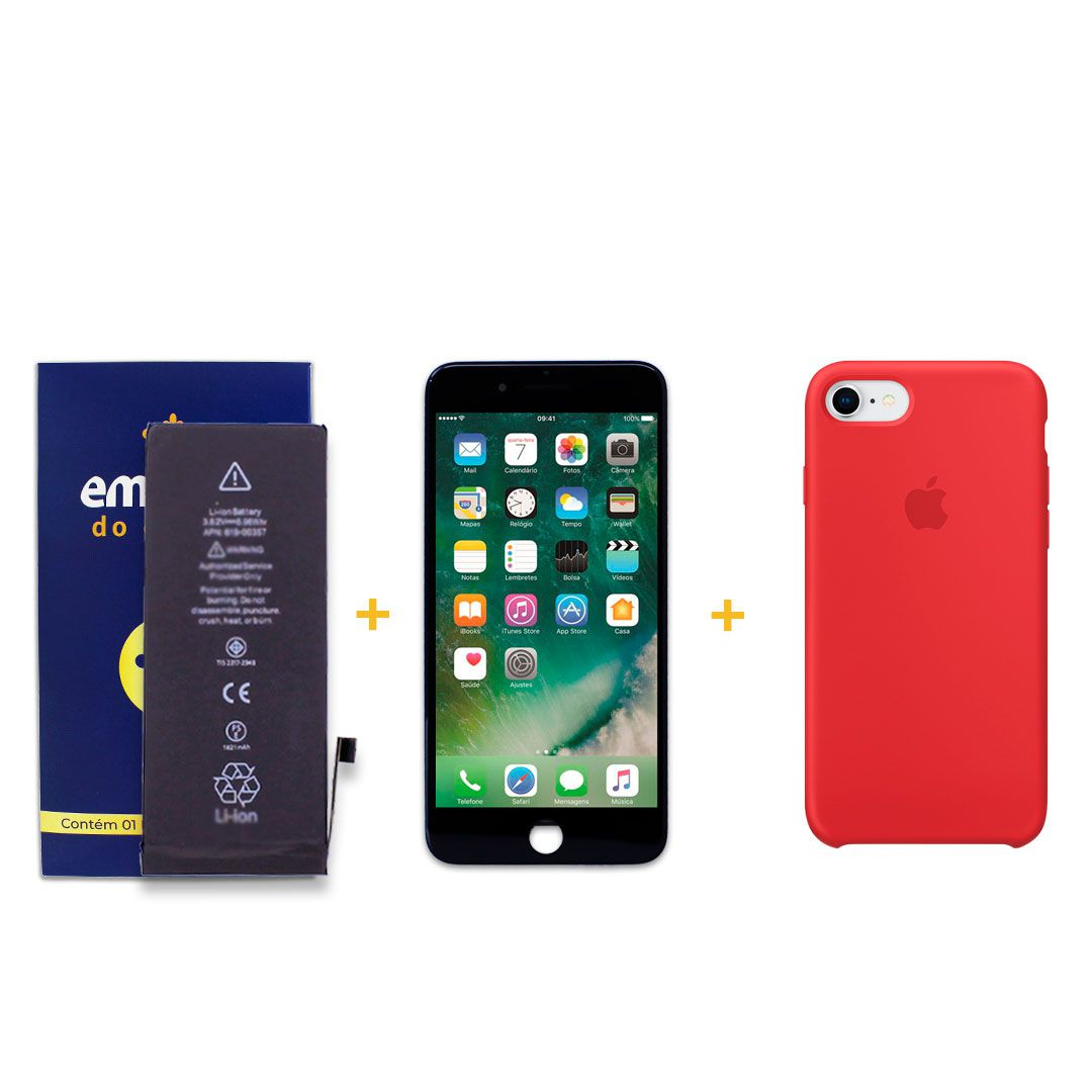 Kit Tela Display iPhone 8 Standard Preto + Bateria + Capa Apple Vermelha